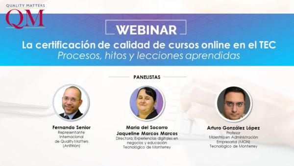 Webinar sobre la experiecia del Tec de Monterrey con QM